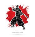 ninja and sword vector image vector image