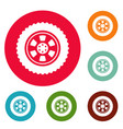 one tire icons circle set vector image