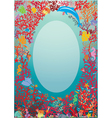 Oval frame with Coral Reef and Marine life - Under vector image vector image