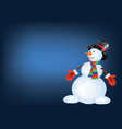 polygonal snowman in red mittens and striped scarf vector image vector image
