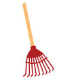 red rake on white background vector image vector image