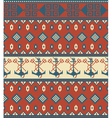 seamless knitted pattern with anchor vector image