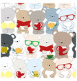 seamless pattern teddy bear cartoon cute character vector image vector image
