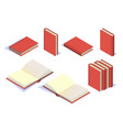set book icons in isometric set box book vector image