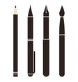 set pens and pencils vector image