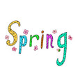 spring banner sketched doodle hand drawn lettering vector image vector image