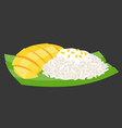 sticky rice with mango on banana leaf vector image
