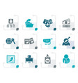 stylized business management and office icons vector image vector image