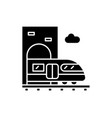 train station black icon sign on isolated vector image vector image