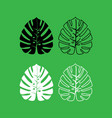 tropical leaf icon black and white color set vector image vector image