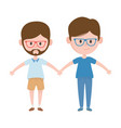 two men hugging friendly characters vector image