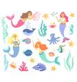 underwater life collection mermaid sea animals vector image vector image