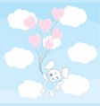 valentines day with cute blue bunny with love vector image vector image