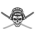 vintage monochrome geisha skull vector image vector image