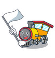 with flag train mascot cartoon style vector image