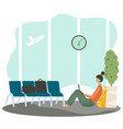 woman cartoon character waiting in airport vector image