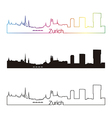 zurich skyline linear style with rainbow vector image
