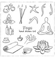 hand drawn doodle yoga symbols icons and asanas vector image