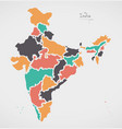 indian map with regions and modern round shapes vector image