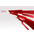abstract red and white shiny geometric shapes vector image