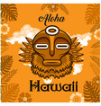 aloha hawaii tribal mask leaves background vector image vector image