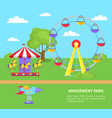 amusement park sightseeing wheel merry-go-round vector image vector image