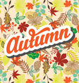 Autumn pattern with retro typography element vector image