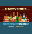bar happy hour poster alcoholic drinks offer vector image