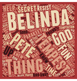 Belinda and Tempest text background wordcloud vector image vector image