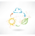 Brush icon with cloud sun and leaf Environment vector image vector image