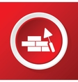 Building wall icon on red vector image vector image