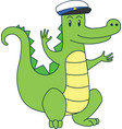 cartoon alligator in sailor cap flat vector image vector image