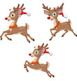 cartoon christmas reindeers wearing santa claus vector image vector image
