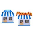 Cartoon store and pizzeria icons vector image