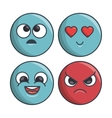 collection set emoticons differents expression vector image vector image
