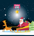 cute santa claus in sled character vector image
