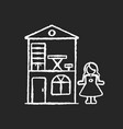 dollhouse chalk white icon on black background vector image