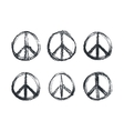 doodle grunge peace sign vector image vector image