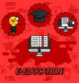 e-education flat concept icons vector image vector image