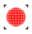 earth globe sign red icon inside black vector image vector image