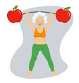elderly woman exercising dumbbell bar with apples vector image vector image