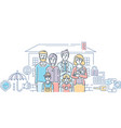 family protection - colorful line design style vector image vector image