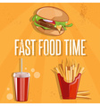 fast food with burgerfried potatoes and cola vector image vector image