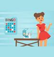 girl in red dress hosts bingo game vector image