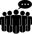 group with speech bubble on leader black isolated vector image vector image