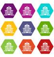 hospital icon set color hexahedron vector image vector image