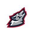 logo mascot wolf howling at moon predator a vector image
