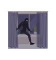 male burglar wearing mask and hoodie breaking in vector image vector image