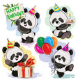 panda bear baby celebrates birthday cartoon vector image vector image