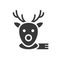 reindeer face christmas related solid style icon vector image vector image